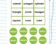 2D and 3D shape bingo worksheet