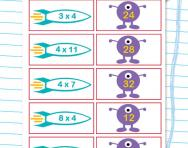 4 times table matching challenge worksheet