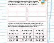 6 times table space bingo game