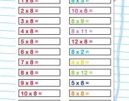 8 times table practice drill worksheet