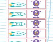 9 times table matching challenge worksheet