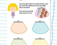 Adding coins to make 20p worksheet