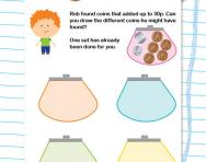 Adding coins to make 30p worksheet
