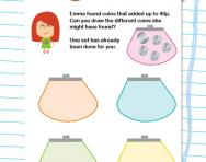 Adding coins to make 40p worksheet