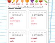 Adding up shopping lists worksheet