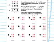 Addition: carrying on numbers worksheet