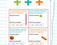 Addition story problems: adding three numbers worksheet