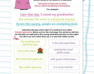 Adverbial phrases in sentences worksheet