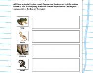 Animals and their habitats worksheet