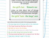 Apostrophes for singular and plural possession worksheet