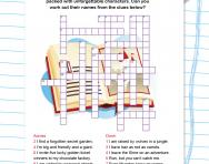 Book characters crossword puzzle