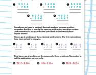 Borrowing and decimal subtractions worksheet
