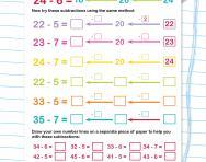 Bridging through tens: subtraction worksheet
