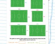 Calculating perimeter and area football worksheet