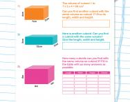 Calculating the volume of cuboids worksheet