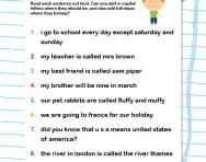 Capital letters and full stops worksheet