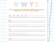 Handwriting worksheet: capital letters (diagonal lines) A K M N V W Y Z