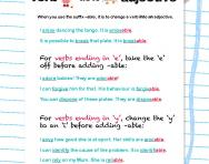 Changing verbs into adjectives with the suffix -able worksheet