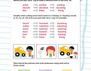 Changing verbs to add -ing and -ed worksheet