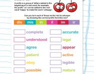 Changing words to antonyms by adding prefixes worksheet