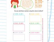 Column addition: five-digit numbers worksheet