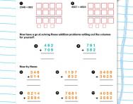 Column addition with three- and four-digit numbers worksheet