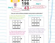Column subtraction revision worksheet
