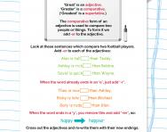 Comparative adjectives: adding -er football worksheet
