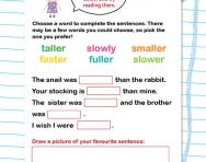 Comparative sentences worksheet
