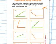 Comparing and ordering angles smaller than 180 degrees worksheet