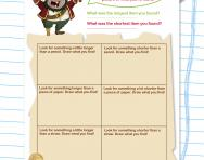 Comparing lengths treasure hunt worksheet