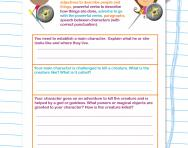 Creating a mythical character worksheet