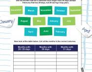 Days in each month worksheet