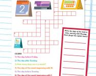 Days of the week crossword puzzle