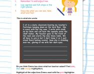 Describing a story setting worksheet