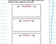 Design a healthy menu worksheet