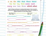 Determiners: filling in the gaps worksheet