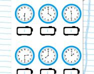 Digital and analogue time: hours and half hours worksheet
