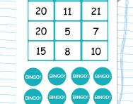 Double and near doubles bingo game