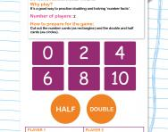 Double or half number card game worksheet