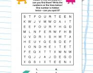 Even numbers wordsearch