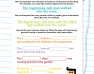 Expanding noun phrases worksheet