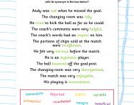 Find the synonyms football worksheet