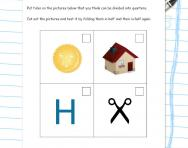 Finding a quarter of a shape worksheet