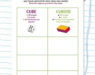 Finding cubes and cuboids worksheet