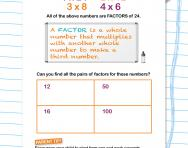 Finding factors worksheet