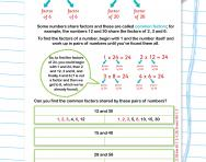 Finding the factors of a number worksheet