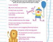 Finding the subject, verb and object in sentences worksheet