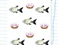 Fish / cakes: matching decimals and fractions puzzle