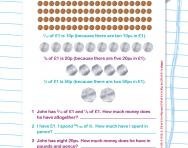 Fractions and money worksheet